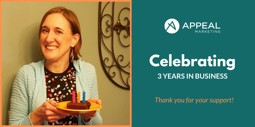 Appeal Marketing celebrating 3 years in business